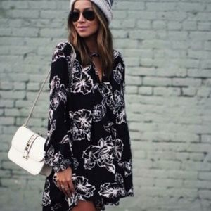 Free People | Black Ivory Floral Tunic Mini Dress